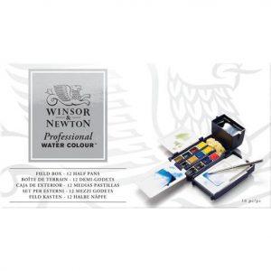 Winsor Newton Professional Watercolor Field Box 12 Half Pans
