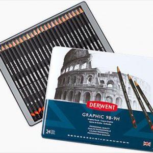 Derwent graphic 9b 9h pencil set of 24