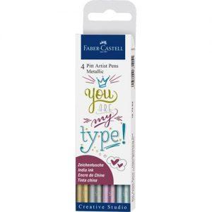 Faber-Castell Pitt Artist Pen 4 Pack Metallic