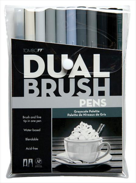 Tombow Dual Brush Pens 10 Gray Scale Set