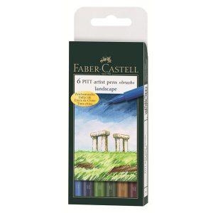 Faber-Castell 6 Pitt Artist Pens Lanscape 6 pack