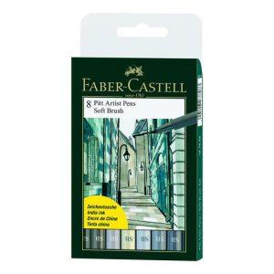 Faber-Castell PITT artist pens 8 pack soft india brush set