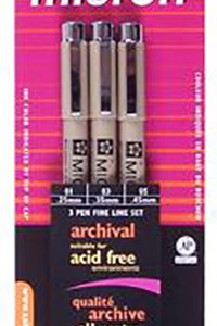 Micron set of 3 black assorted size
